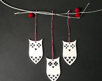 Owl Christmas ornaments 3 Christmas tree decorations White with love hearts Red & white thread