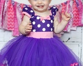 MINNIE MOUSE dress, purple Minnie Mouse dress, Minnie Mouse Party Dress,purple Polka Dots dress, pink and purple dress, 1st Birthday party