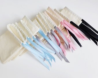 Small - plain cotton pouches with custom ribbon