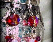 SALE!! -pink, red and purple swarovski cluster earrings