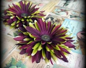 Purple and Green Flower Hairclips