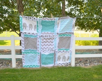 Elephant Rag Quilt - Chevron and Polka Dot - Baby Blanket in Turquoise Blue and Gray - Elephant Mini Crib Quilt - Elephant Baby Boy Quilt