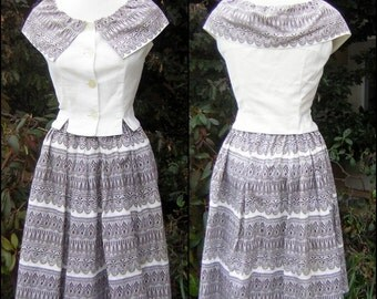 Cotton Summer Dress Set - Vintage 60s Lacy 2 piece with Full Skirt - Janice Kay for Richard Ingersoll - S XS