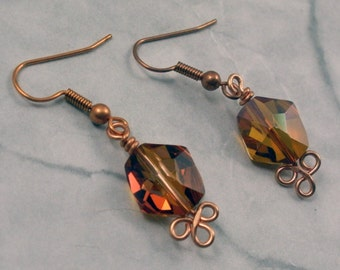 Crystal Copper Earrings