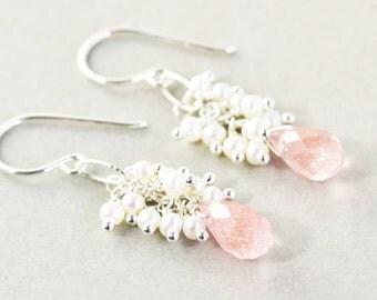 Cherry Quartz Dangle Earrings, Pearl Cluster Earrings, Salmon Pink Earrings
