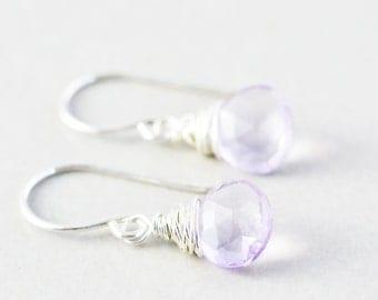 Purple Dangle Earrings, Amethyst Drop Earrings, February Birthstone, Lavender Earrings