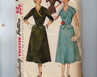 1950s Vintage Sewing Pattern Simplicity 4517 Misses One Piece Dress Asymmetrical Front Size 18 Bust 36 1955 50s