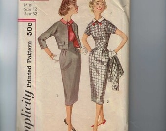1960s Vintage Sewing Pattern Simplicity 2624 Missses One Piece Dress with Detachable Collar and Jacket Size 12 Bust 32 60s  99