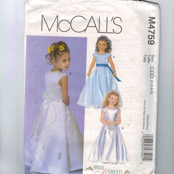 childs sewing pattern mccalls m4759 girls flower girl first