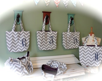 Set of 6 Monogrammed Tote Bags for Bridesmaids Bridesmaid Wedding Shower Gifts Gift Custom Chevron