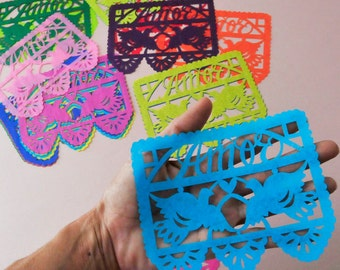 Papel Picado wedding invitation inserts embellishments - MIXED BRIGHTS - Ready Made