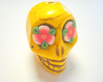 Gigantic Yellow Howlite Skull Bead or Pendant  with Red Roses in Eyes