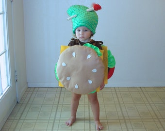Baby Costume Cheeseburger Hamburger Halloween Costume Purim Dress Up Photo Prop Boys Costume Pickle Costume Newborn Infant Toddler