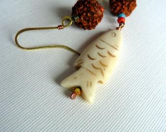 Machli Wala* Organic Seed & Bone Fish Earrings India Rudraksha Carved Bone Jewelry African Trade Beads Ethnic Boho Tribal Organic Earrings