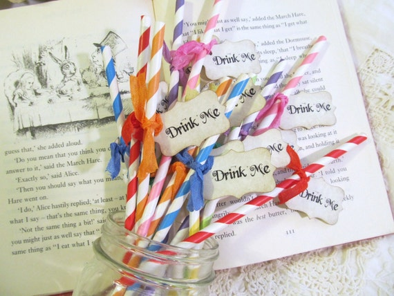 Alice Party Straws with Drink Me tags - Set of 18 - Alice in Wonderland Mad Tea Party Unbirthday Bridal Shower Bachelorette Party