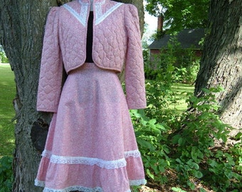Vintage 70s S Pink Prairie Gunne style Bolero Quilted Jacket and Skirt Suit Ribbon Lace