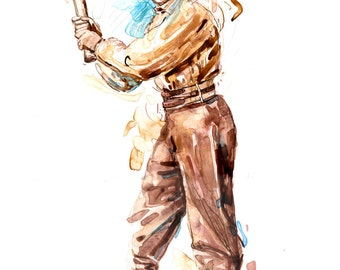 Watercolor portrait painting of vintage baseball player John Lowell- giclee from original