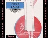 Vintage Sewing Pattern 1930's Skirt in Any Size Depew 1068b Draft at Home Pattern - PLUS Size Included -INSTANT DOWNLOAD-