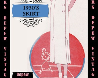 Vintage Sewing Pattern 1930s Skirt in Any Size Depew 1068b Draft at Home Pattern - PLUS Size Included -INSTANT DOWNLOAD-