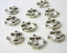 Silver Anchor Charms Set of 10 Silver Color 23x21mm