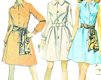 1960s Dress Pattern McCalls 2251 Fit and Flare Dress Front Button Flared Skirt Shirtdress Womens Vintage Sewing Pattern Bust 36