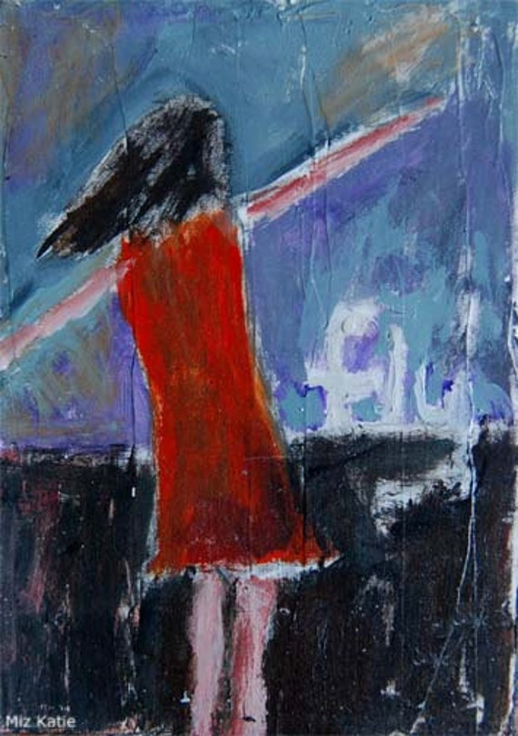Acrylic mixed media 5x7 original whimsical painting - Fly, girl with her arms outstretched
