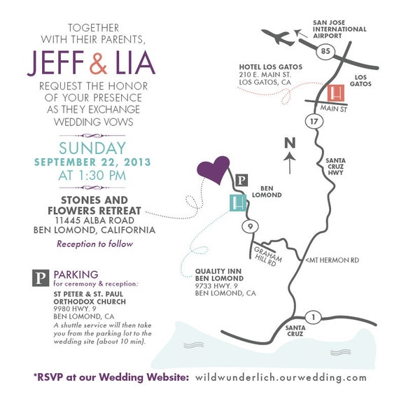 Wedding Map Invitation / Custom Design / By Papercakedesigns
