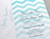 Phoebe Teal Chevron Wedding Invitation Sample - Modern Chevron Pattern Custom Wedding Invitation