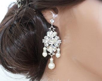 Bridal Earrings Small chandelier earrings Pearl and Crystal Swarovski Rhinestone Vintage style Filigree Wedding Earrings LILY