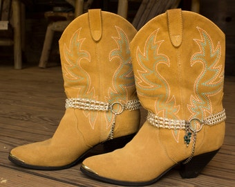 Swarovski Crystal & Pearl with Color Accent Western Cowboy Boot Jewelry