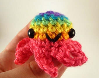 Bright Rainbow Baby Octopus Amigurumi Crochet Plushie - Pink Base - READY TO SHIP