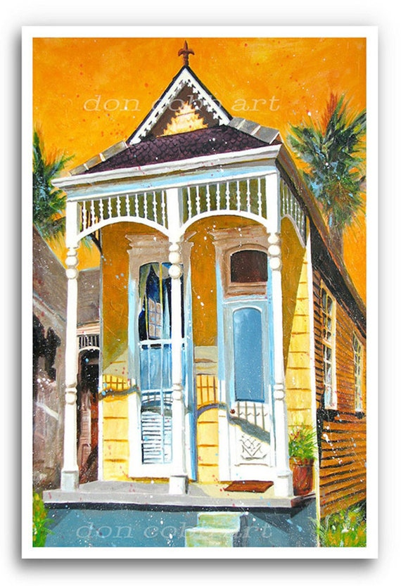 New Orleans 13x19 Art Garden District House By Doncobbartwork