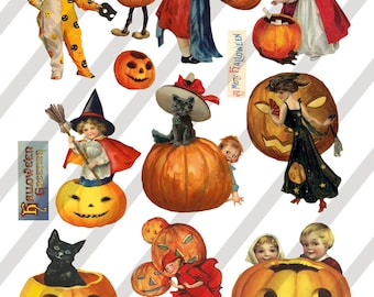 Digital Collage Sheet Vintage Halloween Images (Sheet No.O135) Instant Download