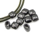 TierraCast Leather Crimp Beads - 4mm x 2mm Black Oxide Gun Metal Gunmetal Leather Barrel Beads - Leather Findings PS447