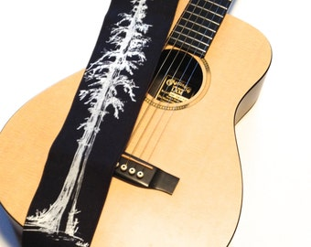 Redwood Tree Guitar Strap-with black fair trade hemp linen