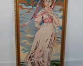 Pinkie Needlepoint Framed Picture Vintage