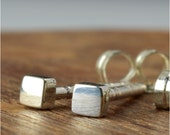 2 mm Tiny Square Geometric Sterling Silver Post Earrings