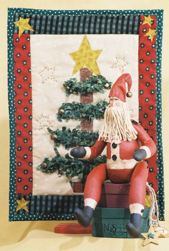 Cloth Doll E-Pattern - 15in Santa & Quilt Christmas Display