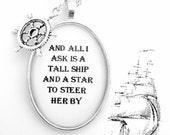 Sea Fever Poem Nautical Silver Pendant Necklace Ship Wheel