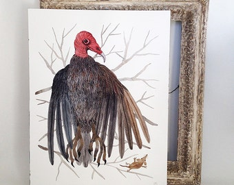Turkey Vulture woodland bird art large original watercolor painting