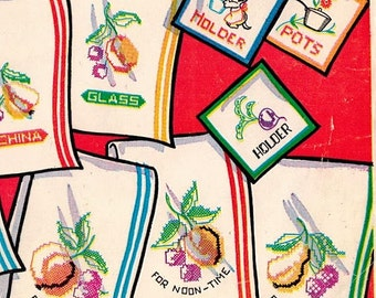 1950s Vogart 211 UNCUT Vintage Embroidery Pattern Gay Garden Fruits & Vegetables to Brighten Your Kitchen