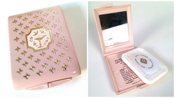 vintage Max Factor mini pink powder compact with mirror