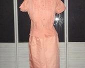 Vintage Donkenny 40s 50s Ruffled Secretary Dress Madmen 2 Piece Day Wiggle Dress