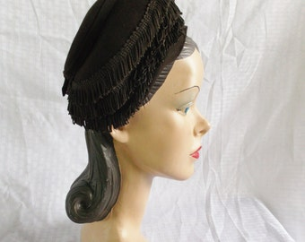 Clearance 1940's Vintage Brown Fringed Turban Hat William H. Block Indianapolis and New York Creation Size 22