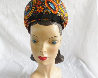 Clearance 1960's Vintage Sally Victor Bubble Toque Hat with Mod Print