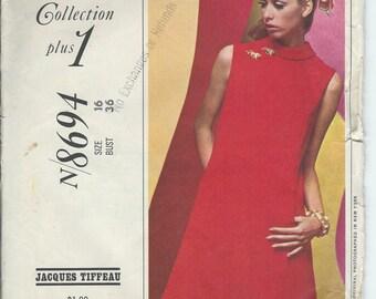 1967 VINTAGE PATTERN New York Designer's Collection 8694. Misses Dress. Size 16. Bust 36.