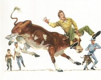 Vintage Animal Print - Cow Print - Milking Cow - Book Plate - Vintage Book Print- Readers Digest - Animal Story Book - 1970s