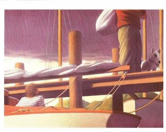 Nautical Print - Boat Dock - Boat Print - Vintage Art Print - Boat Book Plate, Book Print - Wreck of the Zephyr - Chris Van Allsburg