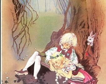 Fairy Tale Print - Hansel Gretel - Vintage Print - Children's Book Plate, Print - Fairy Stories - Asleep in Forest - Beverlie Manson - 1970s