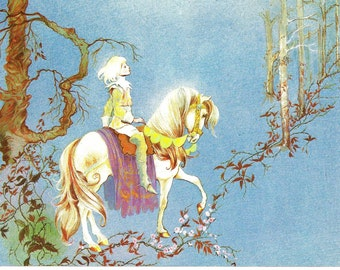 Fairy Tale Print - Sleeping Beauty - Vintage Print - Children's Book Plate, Book Print - Prince - Horse - Beverlie Manson - 1970s